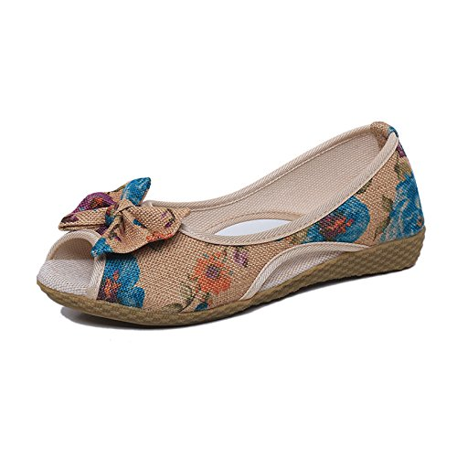 scarpa Le di Nodo DYF nude punta donne farfalla rugiada ricamo piatto stile Blue nazionale wI88CPxd