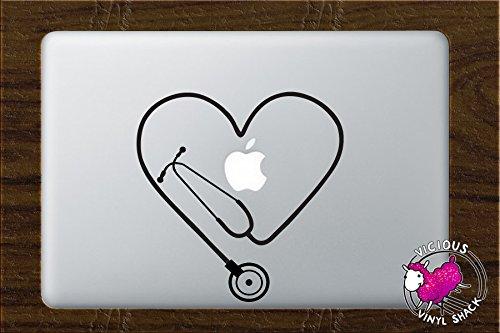 Stethoscope Heart Cutout (BLACK) Vinyl Decal Stickers for MacBook Laptop Car Nursing Tough Strength Strong Strength Hope Inspiration Love Doctor Nurse Veterinarian Health Medicine Hospital Med -