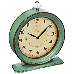 Creative Co-op Metal Rustic Retro Table Clock, 10.5-Inch, Aqua