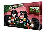 House of Bernese Mountain Dogs Playing Poker Canvas 18 x 24