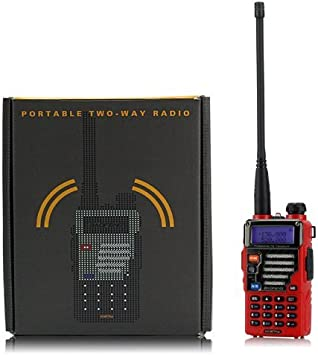 Baofeng Qualette Serie UV-5R Plus/UV5R+ ontvanger 136-174/400-480MHz 2M/70CM, Dual Band, Dual - Display, Dual - Standby, 18CM/7FT Boosted Antenne, Flame Red
