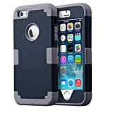 iPhone SE Cases, iPhone 5S Case, iPhone 5 Case, BENTOBEN Shockproof 3 in 1 Hybrid Hard PC Shell and Soft Silicone Anti-Scratch Combo Cover Protective Case for iPhone SE /5S /5, Navy Blue + Dark Gray