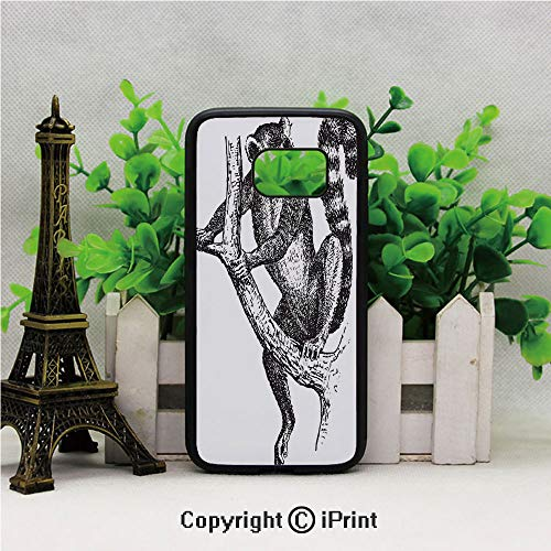 Lemur Catta with White Ringed Tail Exotic Tropical Wildlife Animal Sketch Design Samsung Galaxy S7 Case with Artistic Black Soft TPU and PC Protection Anti-Slippery Case for Samsung S7 Black White