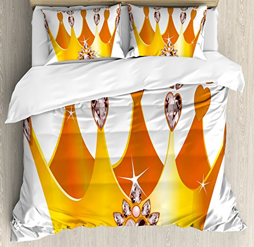 Fairy Tale Friends Tiara (Queen Duvet Cover Set Queen Size by Ambesonne, Gold Colored Tiara Cartoon Princess Hearts Floral Details Fairytale Character, Decorative 3 Piece Bedding Set with 2 Pillow Shams, Yellow Dried Rose)
