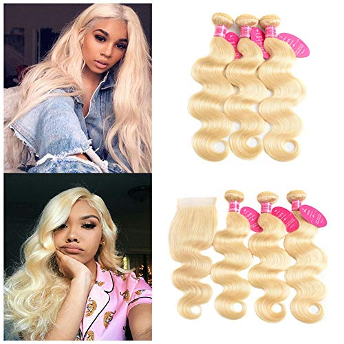 613 Blonde Bundles with Closure Brazilian Body Wave 3 Bundles with Closure Blonde Human Hair Bundles with Closure Remy Hair (22 24 26 + 20, 613#) from tanlisi