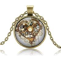 Vintage Steampunk Heart Photo Cabochon Glass Bronze Pendant Necklace Jewelry LOVE STORY