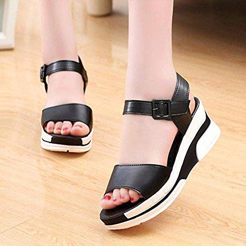 Peep à Boho Femmes Plateforme Chaussures Sandales pour Pente Élégantes Noir Toe Fashion de xa6Ywfqf