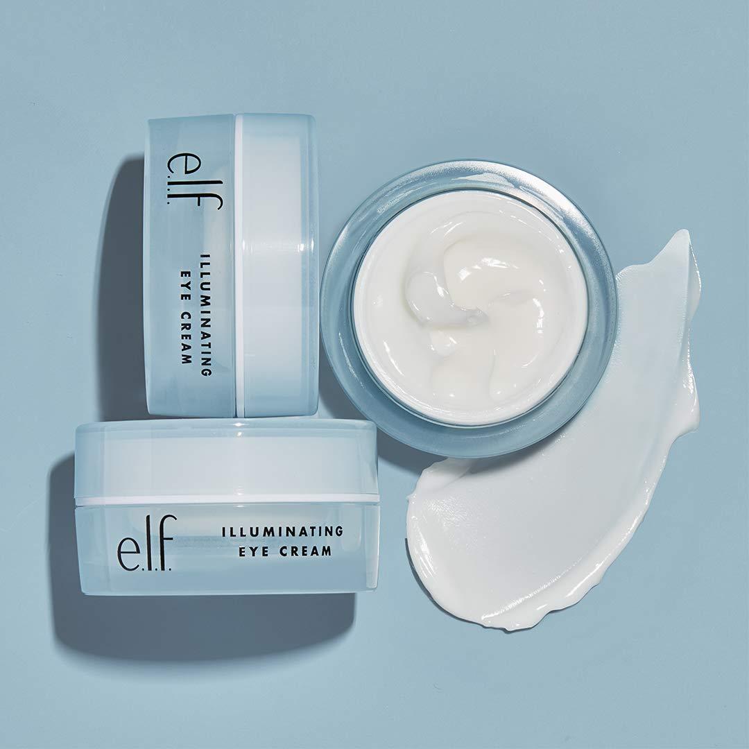 e.l.f., Illuminating Eye Cream, Lightweight, Moisturizing , Nourishes, Deeply Hydrates, Minimizes Dark Circles, Infused with Jojoba, Vitamin E, and Cucumber, 0.49 Oz: Beauty