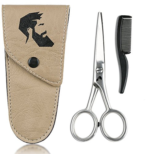 BuzzBarber Professional Beard Mustache Trimming Grooming Cutting Scissors Shears Comb Tool Kit Set Leather Case for Men