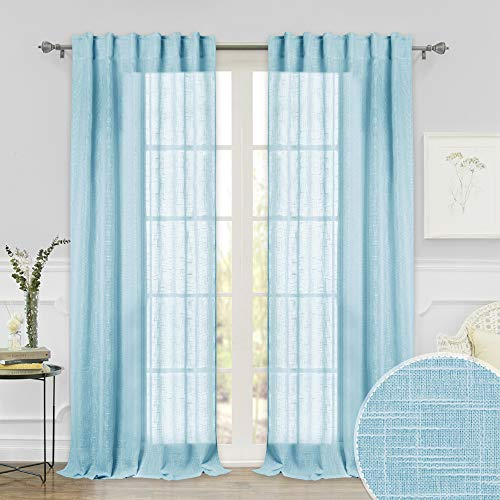 RYB HOME Window Sheer Curtains with Linen Like Pattern, Extra Long Curtains for Sliding Glass Door Home Office Sun Room, Filter Sunlight Glare, Baby Blue, 52 inch Width x 95 inch Length, 1 Pair from RYB HOME
