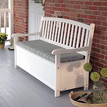 Curved Back Outdoor Acacia Wood Patio Storage Bench   White Is A  Sensational Addition To Your Front Porch Or Patio