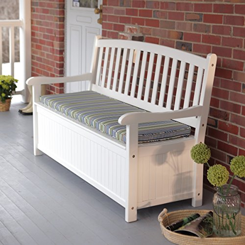 Pleasant Bay 4 ft. Curved-Back Outdoor Acacia Wood Patio Storage Bench - White Is A Sensational...