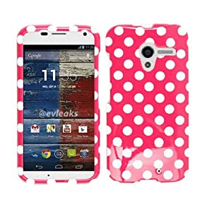 Cell Armor Motorola Moto X Deluxe Snap On Case - Retail Packaging - White Dots On Purple