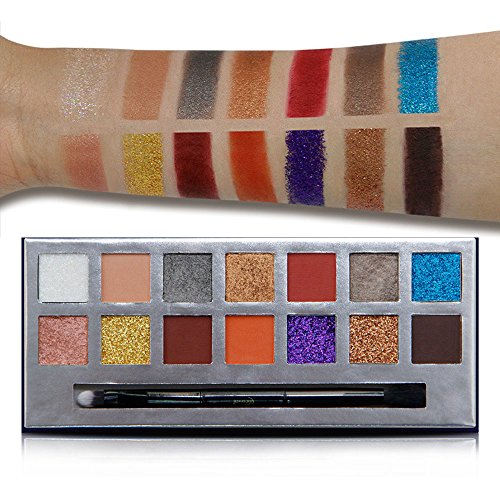 Matte and Glitter Eyeshadow Palette, Niceface 14 Bright Colors Makeup Palette Eye Shadow Pallete With Professional Eyeshadow Brush