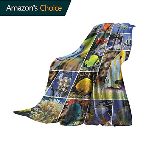 Ocean Weighted Blanket for Kids,Collage of Underwater Photos with Collection of Tropical Fish Oceanic Art Print Weighted Blanket for Adults Kids,Better Deeper Sleep,30