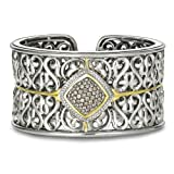 Charles Krypell Sterling Silver and Brown and White Diamond Cuff