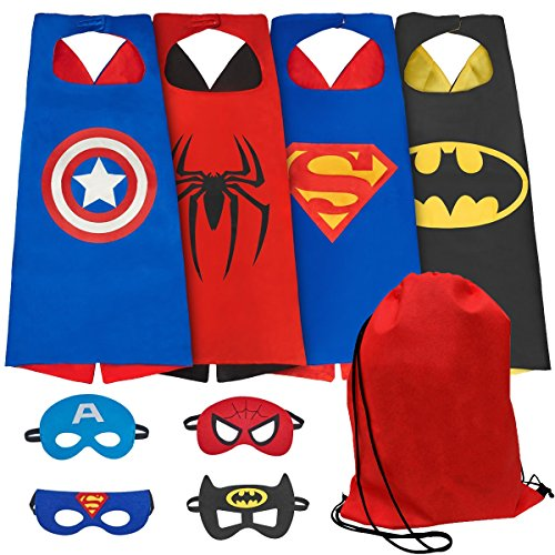 NAGNACA Comics Cartoon Hero Dress Up Cape and Mask Costumes for Kids with Red Bag
