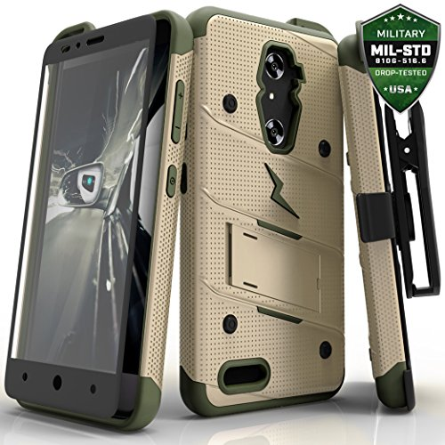 Price comparison product image ZTE ZMax Pro Case, Zizo [Bolt Series] w/FREE [ZMax Pro Screen Protector] Kickstand [12 ft. Military Grade Drop Tested] Holster Clip- Grand X Max 2