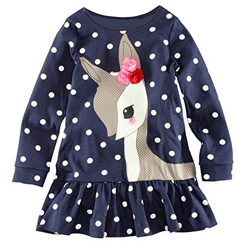 Healthy Clubs Baby Mädchen Kleid Kleinkind Tupfen Animal Print Langarm Schößchen Tops Shirt