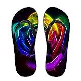 Qilrocm Rainbow Rose - Flip Flops, Funny Thong Sandals, Beach Sandals -