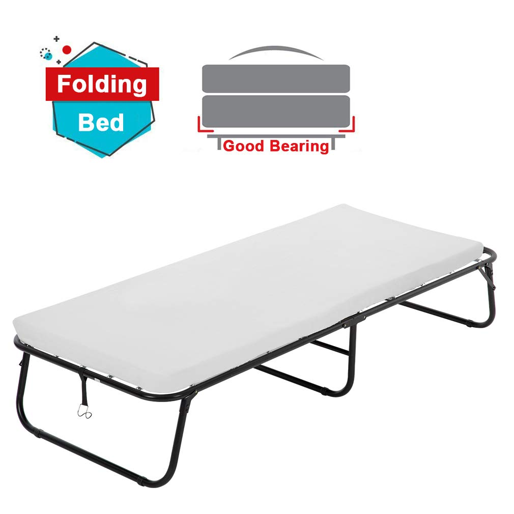 BestMassage Guest Folding Bed Frame Camping Bed Cot Size Heavy Duty With Foldaway Extra Portable 3 Inch Comfort Foam Mattress by BestMassage