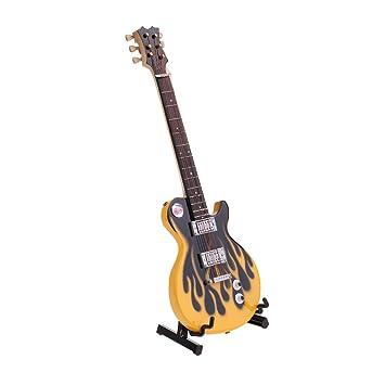 KESOTO Modelo De Moda 20cm Guitarra Eléctrica De Madera Para Muñecas De Juguete - Amarillo negro