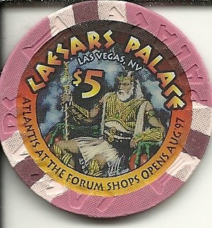 $5 caesars palace forum shops 1997 casino chip las vegas - Palace Shop Caesars
