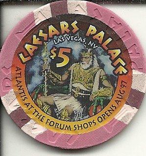 $5 caesars palace forum shops 1997 casino chip las vegas - Forum Vegas Shops
