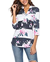 CEASIKERY Women's Short Sleeve Floral V Neck Tops Casual Tunic Blouse Loose Shirt