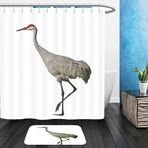 Vanfan Bathroom 2 Suits 1 Shower Curtains &  1 Floor Mats sandhill crane isolated on white latin name grus cannadensis 83330545 From Bath (Gru With Wig)