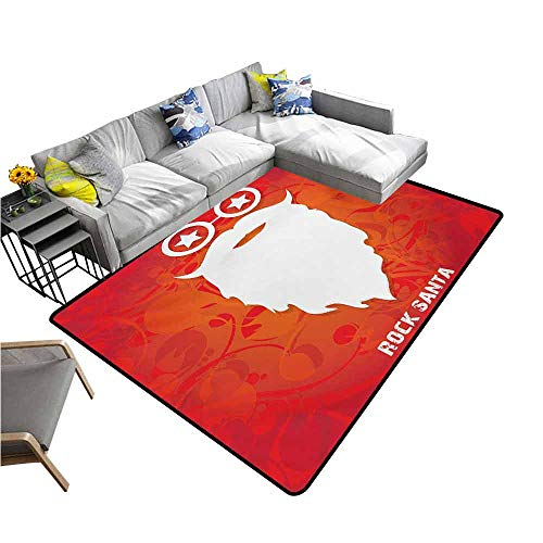 (Floor Mat Kitchen Long Carpet Indie,Rock Santa Claus Christmas Theme Beard Silhouette and Round Glasses with Stars,Red Orange White 60