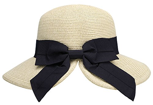 AbbyLexi Women's Pretty Vintage Foldable Sun Visor Straw Hat w/Bow, Mix ()