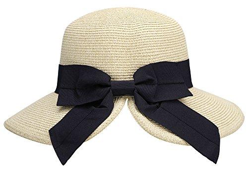 AbbyLexi Women's Pretty Vintage Foldable Sun Visor Straw Hat w/Bow, Mix Beige