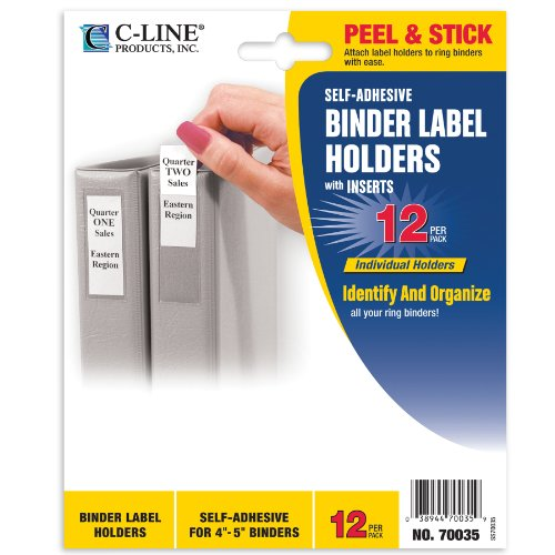 """C-Line Self-Adhesive Binder Label Holders for 4""""; to 5""""; Rin"""