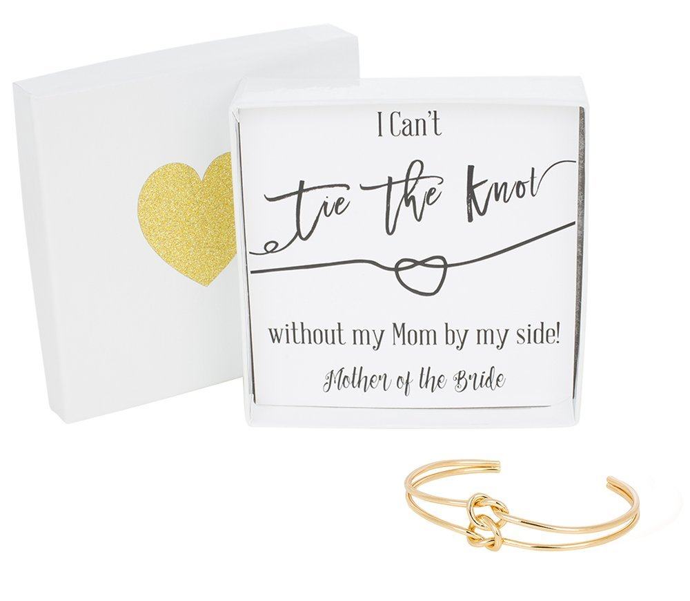 Bridesmaid Gifts - Tie The Knot Mother of the Bride Cuff Bracelet with Gift Box, Double Love Knot Cuff Bracelet, Wedding Party Gift Sets (Black Note Gold Bracelet)