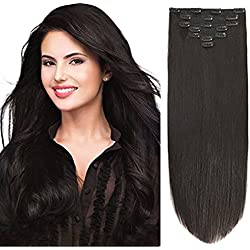 "14"" Clip Hair Extensions Human Hair Clip in Extensions Double Weft Off Black #1B 7pieces 85gram/2.9oz"