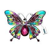 SENFAI Hand Painted Enamel Colorful Butterfly Purple Crystal Brooch Pin Lapel Pin