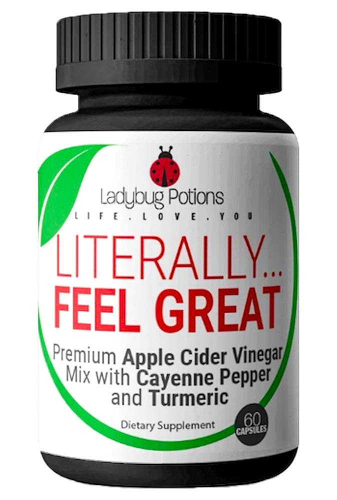 Premium Apple Cider Vinegar Pills - (60 Capsules) with Cayenne Pepper & Turmeric - Appetite Suppressant, Bloating Relief, Detox and Cleanse, Metabolism Booster Diet Pills for Women | Ladybug Potions by Ladybug Potions