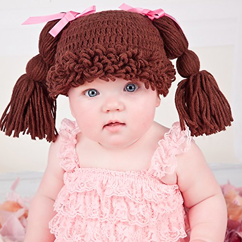 47ccbaa4b44 Melondipity s Brunette Doll Baby Hat with Pigtails and Fringe Bangs and Pink  Bows