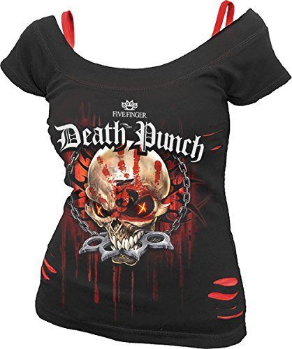 Spiral - Womens - 5FDP - Assassin - Licensed Band 2in1 Red Ripped Top Black - XXL