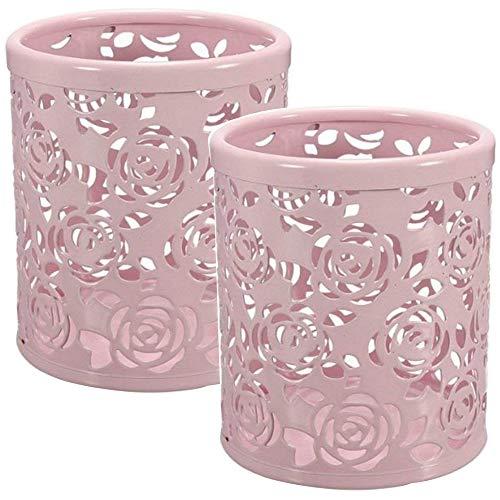 (Gliterstar 2 pcs Cute Hollow Floral Design Pencil Holder Design Pen Holder Pencil Cup (2 pcs Rose, Pink))
