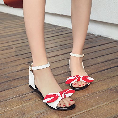 Carolbar Women's Lovely Sweet Bow Flat Ankle-Strap Buckle Sandals White 06pMg4