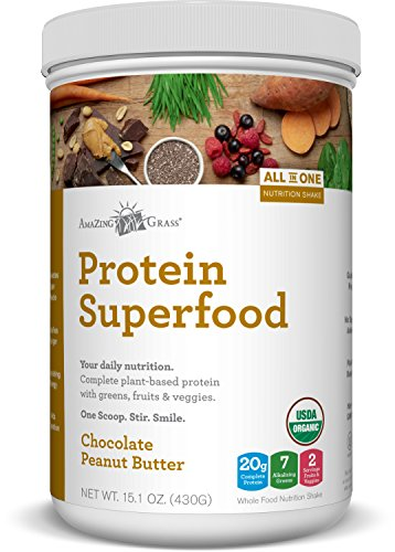 Amazing Grass Plant Protein Superfood Powder, 10 Servings Tub, Chocolate Peanut Butter, 15.1oz, Plant Protein Powder, Pea Protein, Hemp protein, Chia, Organic, Gluten Free, vegan protein, spirulina
