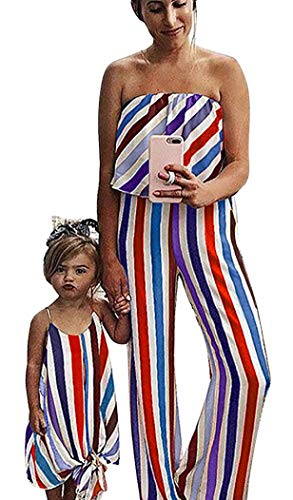 Family Matching One Piece Striped Romper Dress Mommy and Me Spaghetti Straps Dress Off Shoulder Strapless Tube Jumpsuit (Red, Girl/6-7 T)
