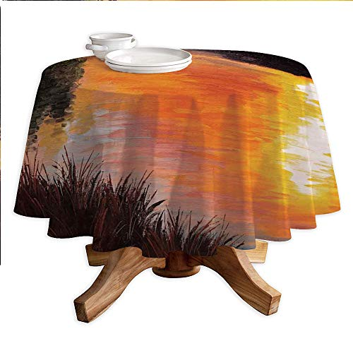 Forest Round Polyester Tablecloth,Lake Forest at Sunset Abstract Art Impressionism Style,Dining Room Kitchen Round Table Cover,42