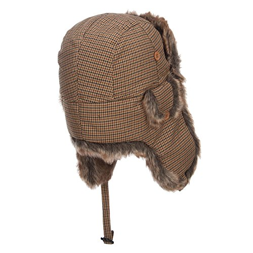 Plaid Faux Fur Winter Trooper Hat - Brown XL