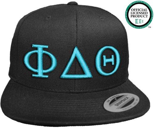 PHI DELTA THETA Flat Brim Snapback Hat Turquoise Letters / Phi Delt Frat | Fraternity Cap