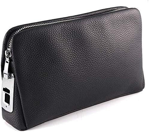 Mens Handbag Smart Fingerprint Lock Leather Soft Leather Clu