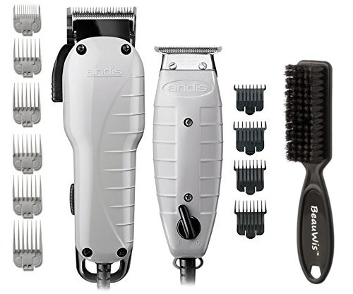 Andis Barber Combo-Powerful High-speed adjustable clipper blade & T-Outliner T-blade trimmer with fine teeth for dry shaving, outlining and fading With a BeauWis Blade Brush Included