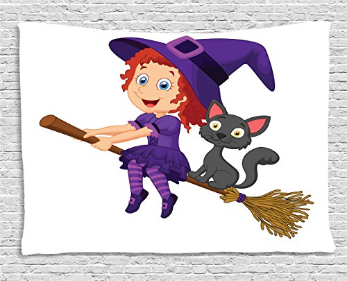 College Halloween Costume Ideas Male (Witch Tapestry by Lunarable, Cute Happy Girl with Funny Cat Celebration Costume Joyful Party Halloween Childhood, Wall Hanging for Bedroom Living Room Dorm, 60 W X 40 L Inches, Multicolor)
